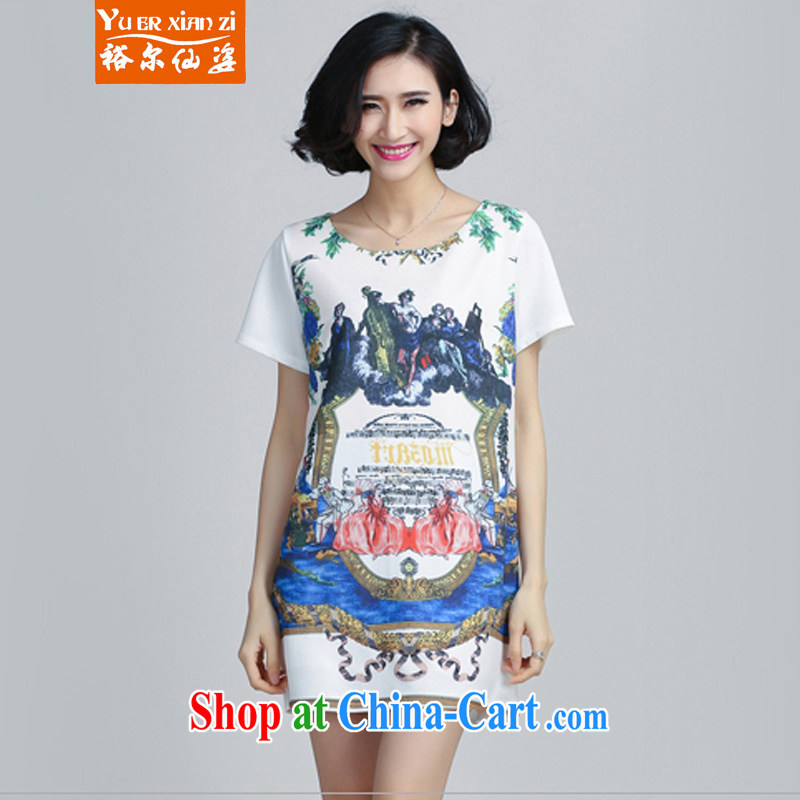 Yu's Sin City 2015 New, and indeed increase, women mm thick snow woven short-sleeved stamp dress girls white 4XL recommends that you 160 - 180 jack