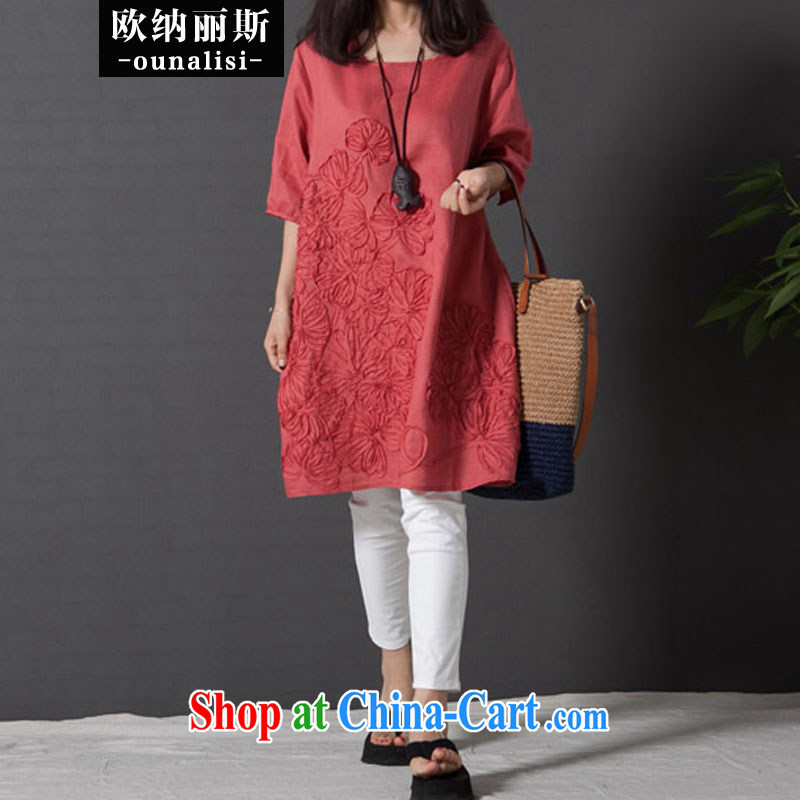 The OSCE, Alice, the Code women mm thick load fall 2015 Korean literature, small fresh loose embroidery cuff in Yau Ma Tei cotton dress orange S 100 jack - 115 jack