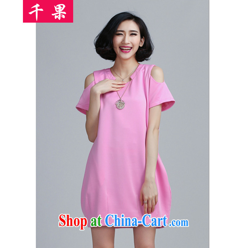 1000 fruit thick mm and indeed increase, female new summer 200 Jack beauty graphics thin bare shoulders solid skirt short-sleeved loose dresses women 6057 pink 4 XL
