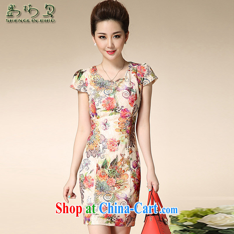 Summer new retro elegant refined and stylish beauty lace larger women's clothing cheongsam dress female sung lim bird 2015 the package mail, the Rose XXXL