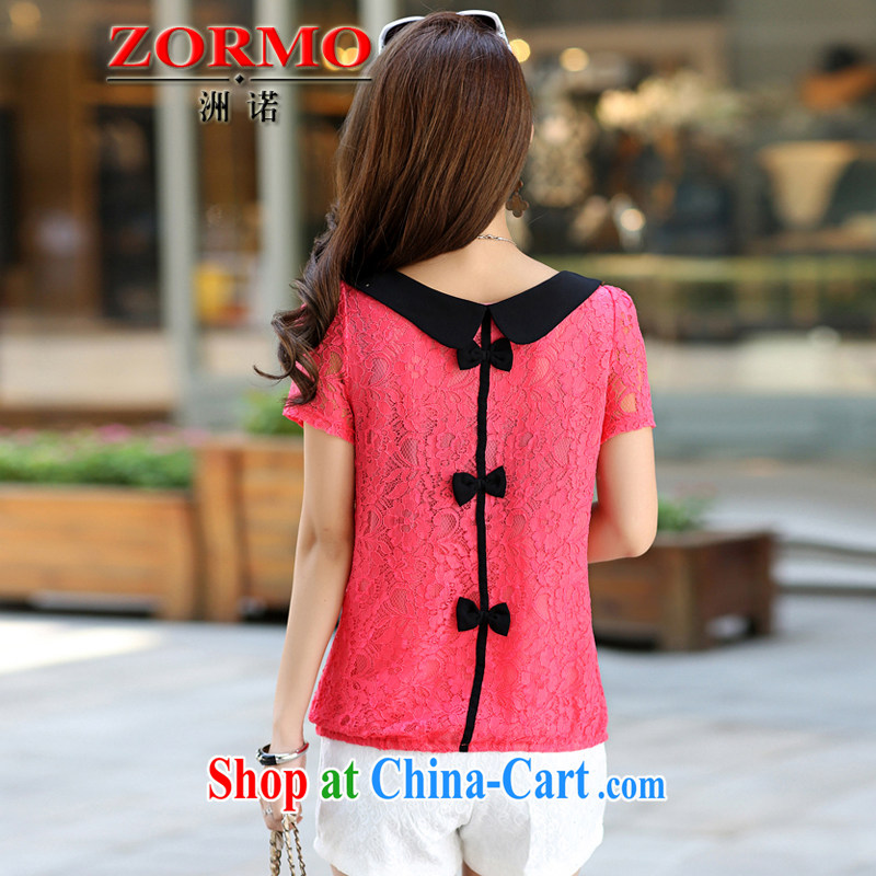 ZORMO larger female 2015 summer new doll for larger lace shirt thick mm and indeed XL T-shirts watermelon red XXXL