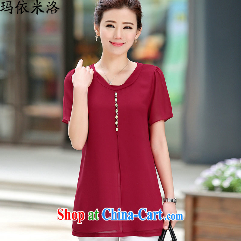 mm thick summer 2015 new blouses short-sleeved plain-colored loose video thin large code female snow woven shirts elegance small T-shirt girl, older women new maroon XXL recommendations 130 - 145 jack