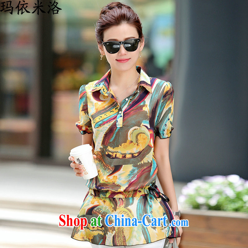 mm thick summer 2015 new female short-sleeved stamp larger female decoration, graphics thin, long, snow-woven shirts small shirts women T-shirt, older women new yellow XXXL recommendations 140 - 155 jack