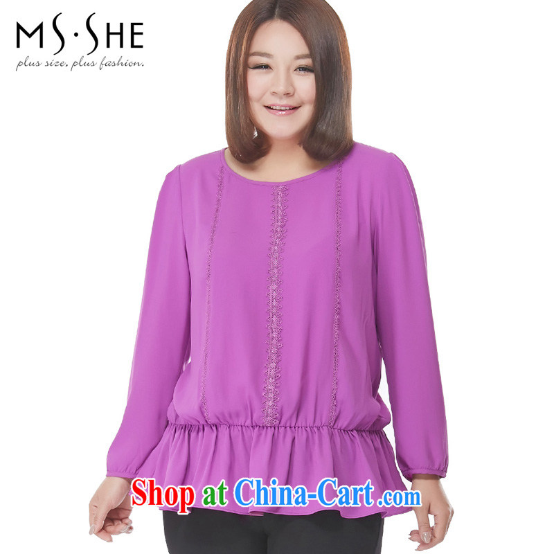 MSSHE XL girls 2015 new spring loaded solid-colored lace with elastic band waist snow woven shirts long-sleeved T-shirt 2552 purple 6 XL
