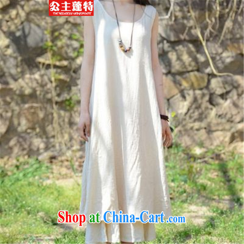Princess Ponte 2015, female literary and artistic, with generous large solid color vest straps long skirt cotton Ma dresses light green L
