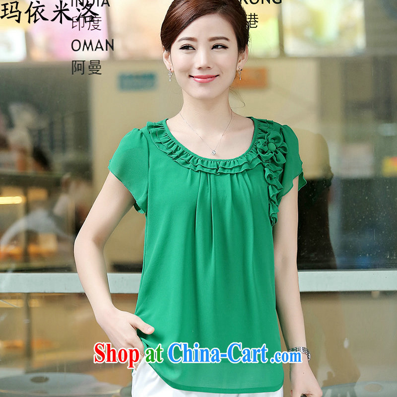 mm thick summer 2015 new female Korean version round-neck collar short-sleeved Solid Color loose video thin large code female snow woven shirts small shirts women T-shirt, older women with new green XXXL recommendations 130 - 145 jack