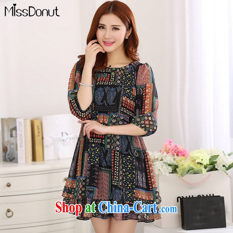 MissDonut 2015 summer New, and indeed increase, fat, female Korean mm thick loose 7 snow cuff woven dresses black large code 5 XL