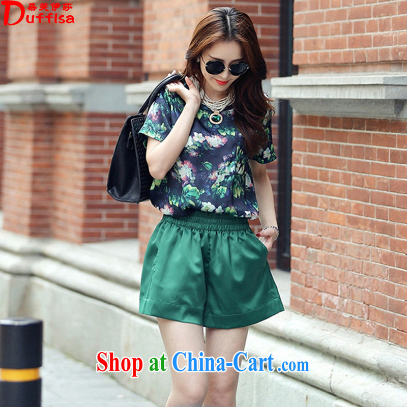 Flower could be the Isabel 2015 Summer in Europe and the new emphasis on mm larger stylish stamp snow woven two-piece short sleeve leisure Package D 1687 green 4 XL