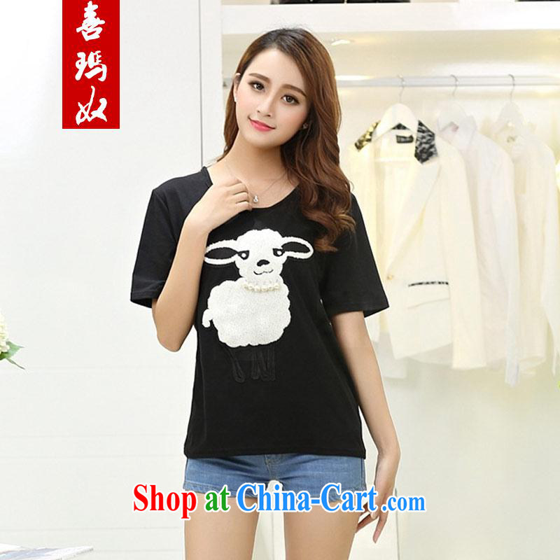 Hi Princess slave Korean large Code women mm thick summer short-sleeved embroidered pin Pearl cotton T shirts, T-shirt Y 56,309 black large code 5 XL