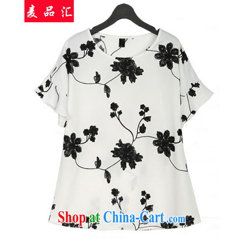 Mr MAK, Exchange 2015 Summer in Europe and New, and indeed increase, female fat sister-in-law 200 Jack loose video thin embroidery Flower Snow woven shirt + short skirt Kit 5 white 4XL recommendations 160 - 180 jack