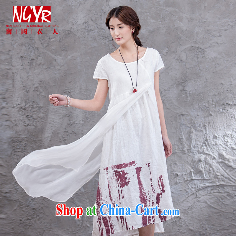 Xiao Nan Guo Yi, good morning the code the commission cotton dress short-sleeved dresses spell Silk arts in the wind long skirt - 2 color white M _chest of CM 98 _
