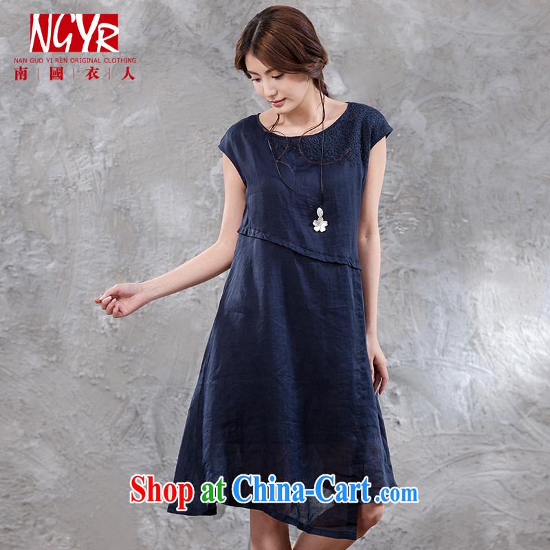 Xiao Nan Guo Yi, summer wood to ensure maximum code ramie ladies embroidery, long skirt package shoulder cuff dress double - 2-color blue M