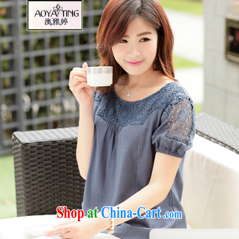 o Ya-ting 2015 summer New, and indeed increase, women mm thick cotton mA short-sleeved lace T-shirt T-shirt girls the blue 3 XL recommends that you 160 - 180 jack