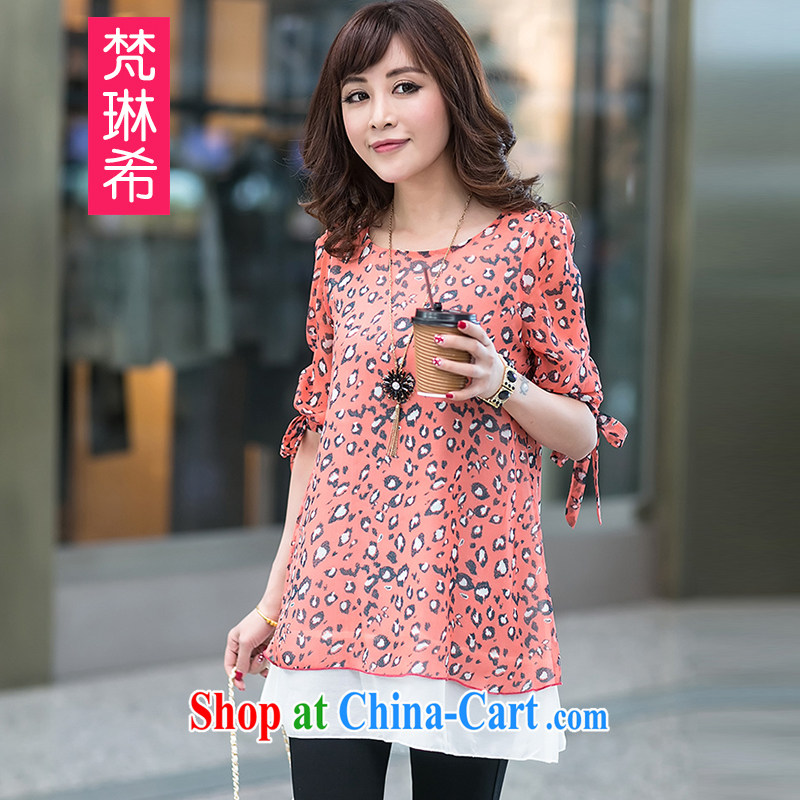 Van Gogh's Catherine the Great, female 2015 new female spring stamp duty cuff in Spring and Summer Snow woven shirts female fat people graphics Thin women leave two snow woven short sleeve girls T-shirt orange 4 XL