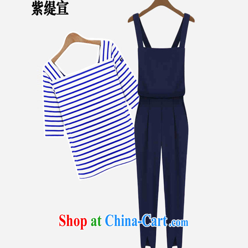 First economy summer sun new, large in Europe and America, ladies stylish casual two-piece with streaks T cotton shirt T-shirt + 100 ground strap trousers 9 trousers 1543 _3 XL 150 - 160 Jack left and right
