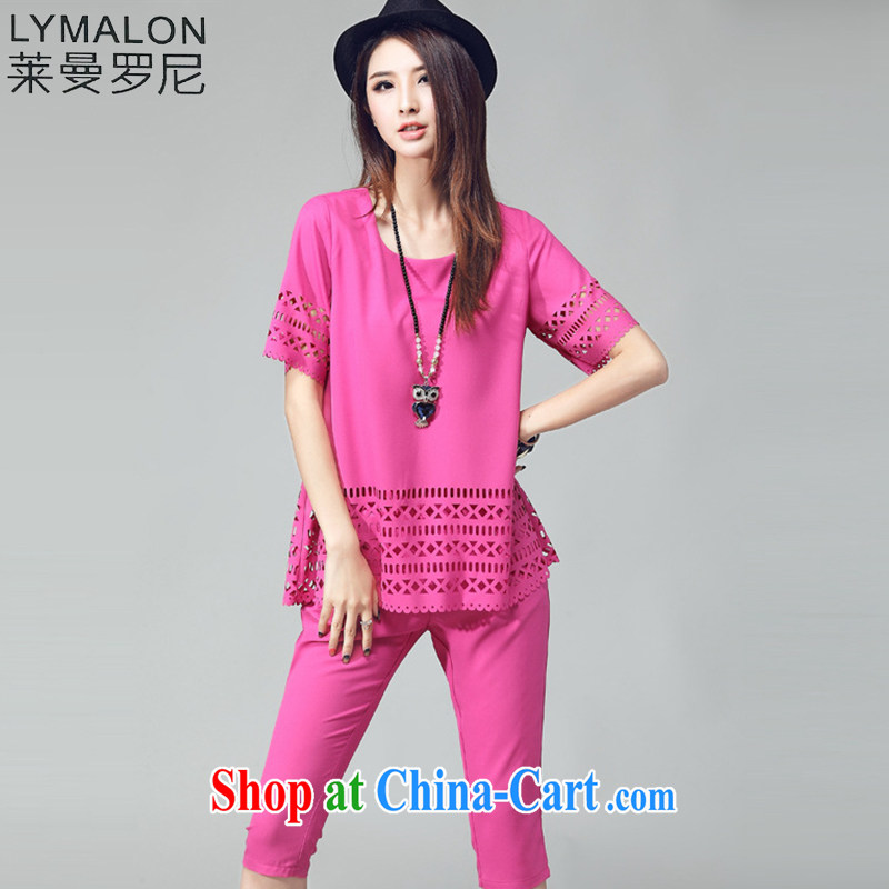 Lehman Ronnie lymalon fat people graphics thin 2015 summer new thick mm larger female and fat and loose short-sleeve T pension package of 8006 red 4 XL