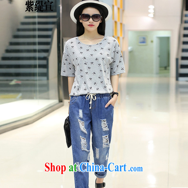 first economy in Europe and declared the code dress stylish two-piece with loose video thin Summer is a new stamp T shirt T-shirt + jeans 9 pants trousers 1789_gray 3 XL 150 - 160 Jack left and right