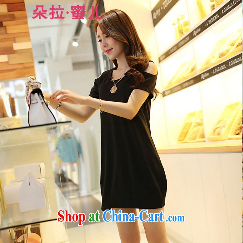 Dora, honey child 2015 summer new Korean version loose video thin XL bare shoulders short-sleeved dresses 4621829 black 4XL