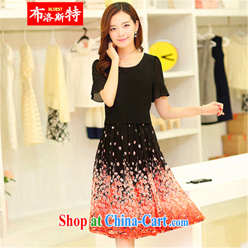 The Pueblo, The 2015 spring and summer with new long skirt the code female snow woven short-sleeved dress, with black XXXXL