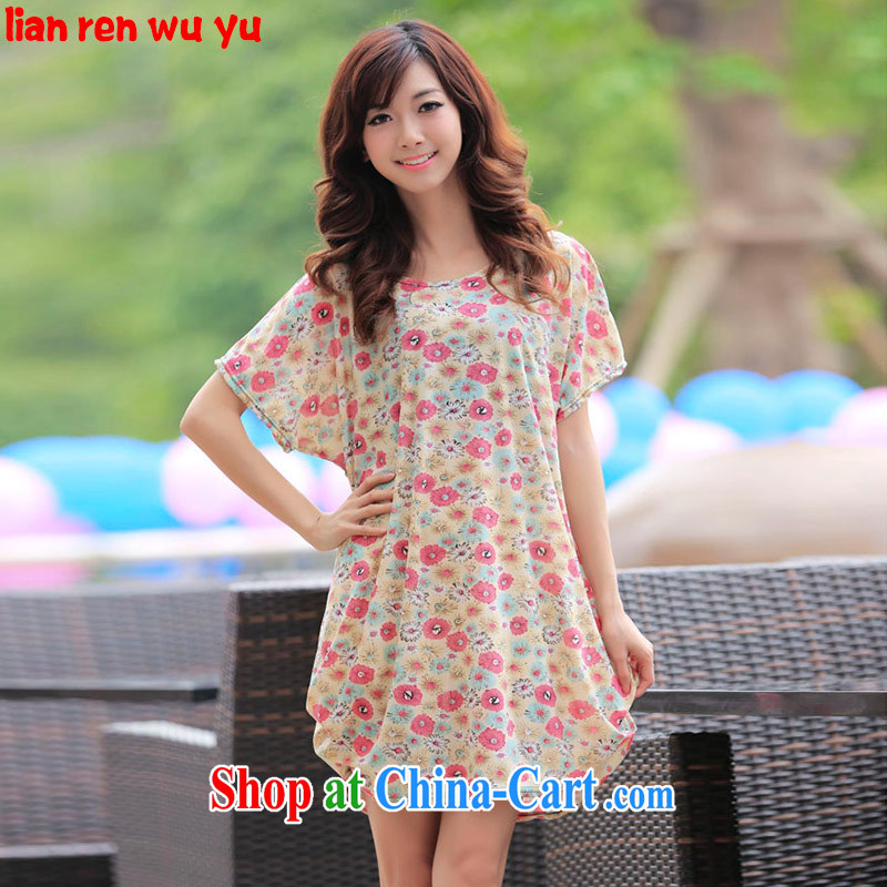 LRWY summer 2015 the code female new short-sleeved dresses thick MM and indeed intensify the hem stamp short skirt long cotton T pregnant mother mask poverty red stamp duty are code (suitable for 90 jack - 160 catties MM)