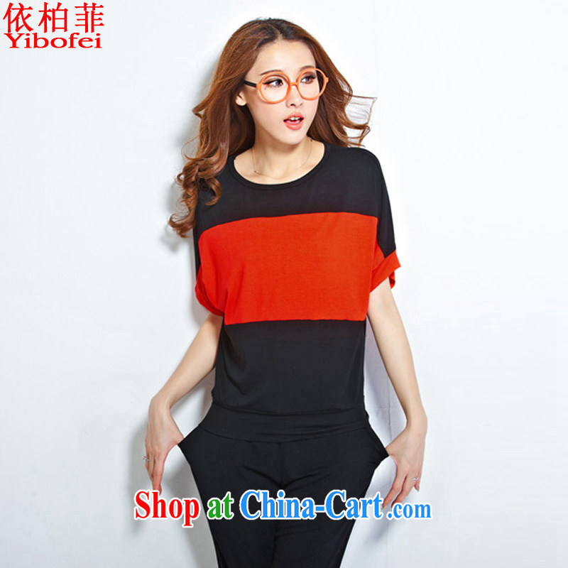 According to perfect summer 2015 new Korean fashion spell Color Lounge two-piece thick mm and ventricular hypertrophy, short-sleeved Kit Y 2199 black XXXXL