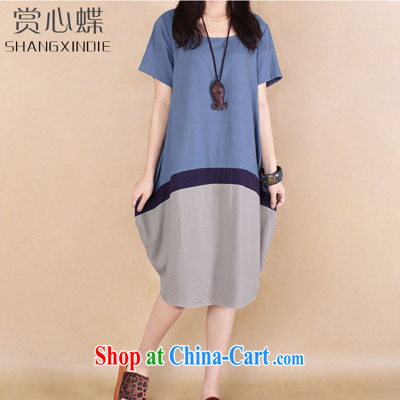The butterfly summer 2015, women with large, Korean Hit color stitching cotton Ma dresses 6635 cowboy blue 2 XL