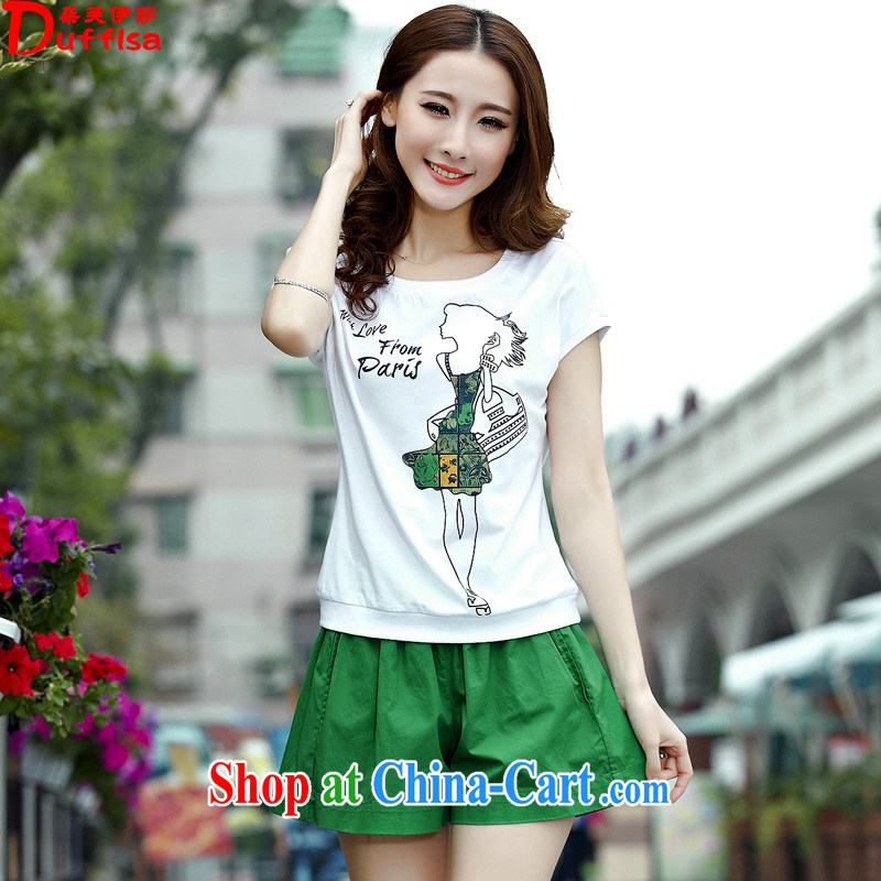 flower girl Isabelle 2015 summer new Korean fashion stamp the code graphics thin leisure two-piece beauty short sleeve women D 1690 green XXXL
