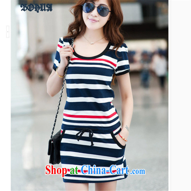 Hua 2015 new thick MM larger sport and leisure stripes short-sleeve cotton beauty package and dresses red code L