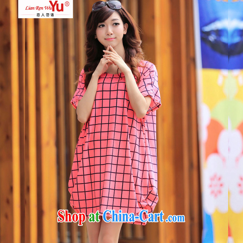 LRWY summer 2015 ultra-liberal pink plaid stamp sweet dresses the code mask poverty and indeed intensify thick MM graphics thin short-sleeved dresses maternity dress pink are code _suitable for 90 jack - 160 catties MM_