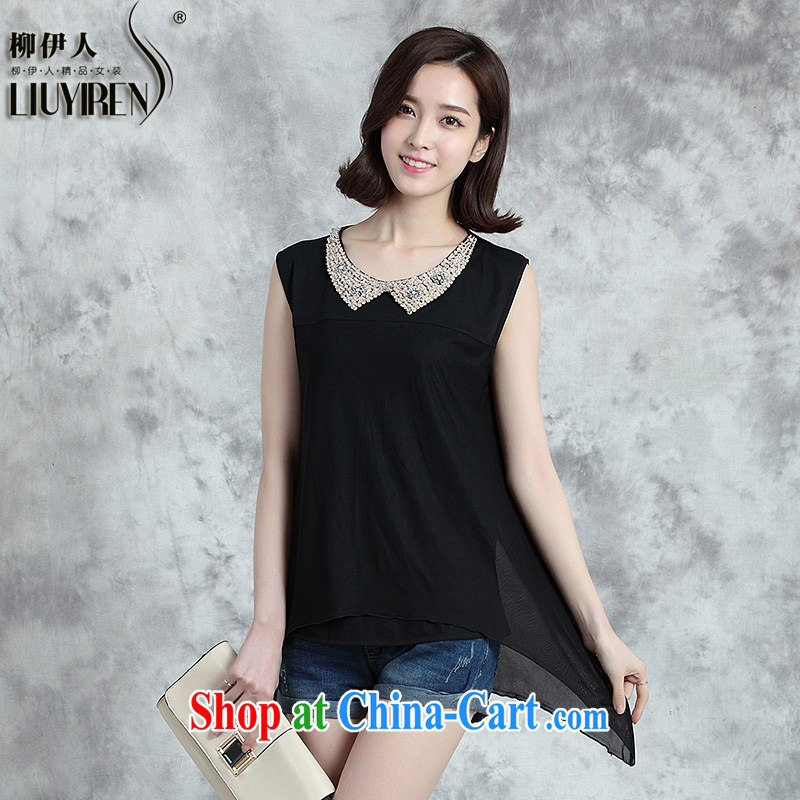 Yoo, who snow-woven shirts girls summer short-sleeved 2015 summer new Japan, and the ROK is the girl with the long, dolls for wood drilling is not rules, with lace shirt black XXL