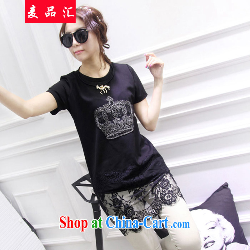 Mr MAK, Exchange 2015 summer new, indeed the XL women mm thick 200 Jack beauty graphics thin short-sleeve lace stitching, long T pension 528 black 3 XL