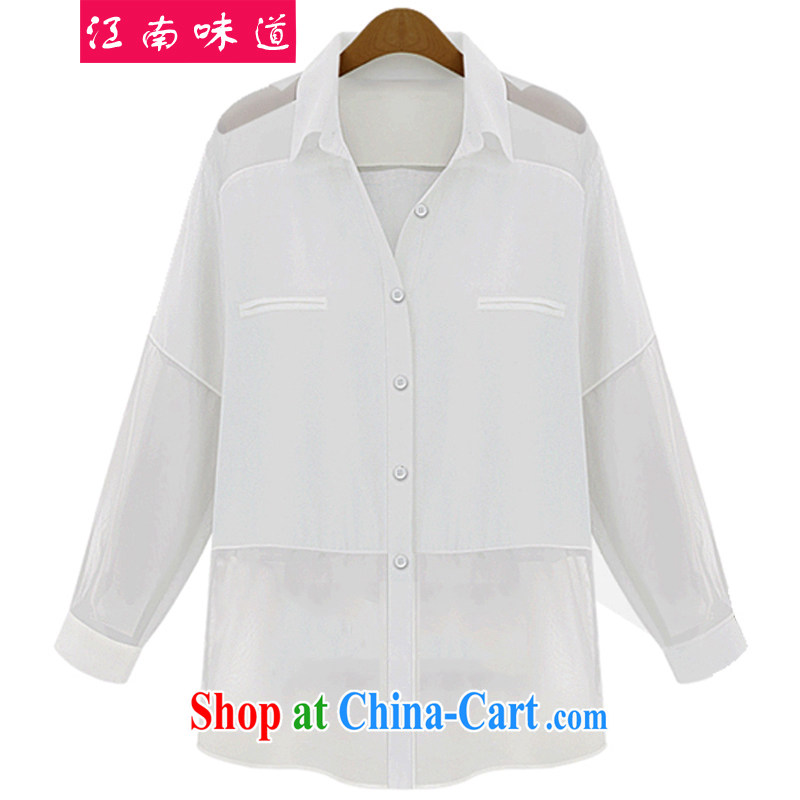 taste in Gangnam-gu 2015 summer mm thick larger female thin ice woven shirts and indeed increase code 200 Jack long sleeved shirt solid shirt 209 white 5 XL