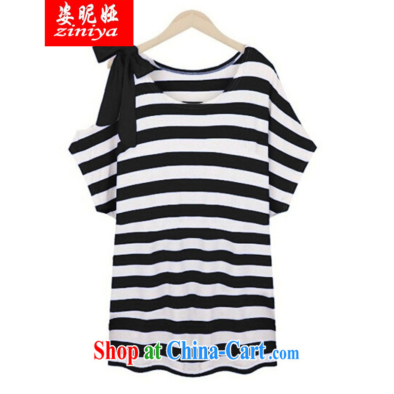 Colorful nickname Julia XL girls with thick mm summer wear new dresses, shoulder skirt large striped short-sleeved shirt solid black XXXXL