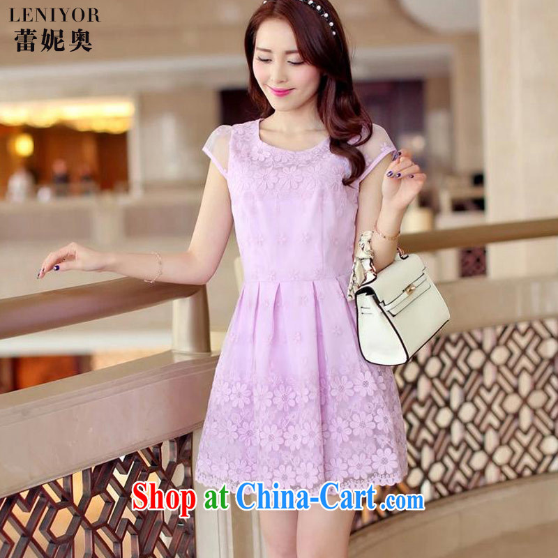Connie clay, 2015 summer New Female European root dress Y 079 light purple S
