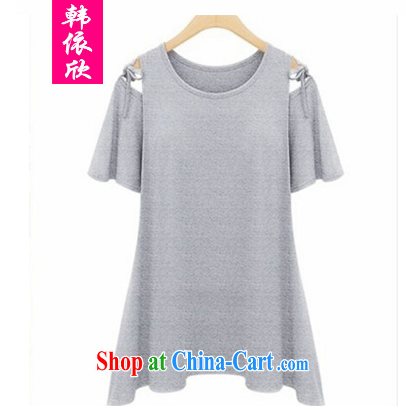 Korea was in accordance with 2015 summer new, larger female summer wear thick, graphics thin beauty, T-shirt thick mm solid Casual Shirt short-sleeve T-shirt gray XXXXL