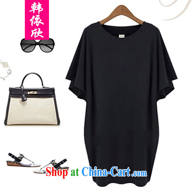 Korea was in accordance with 2015 mm thick beauty dress with thick sister in summer long, short-sleeved T-shirt black 5 XL