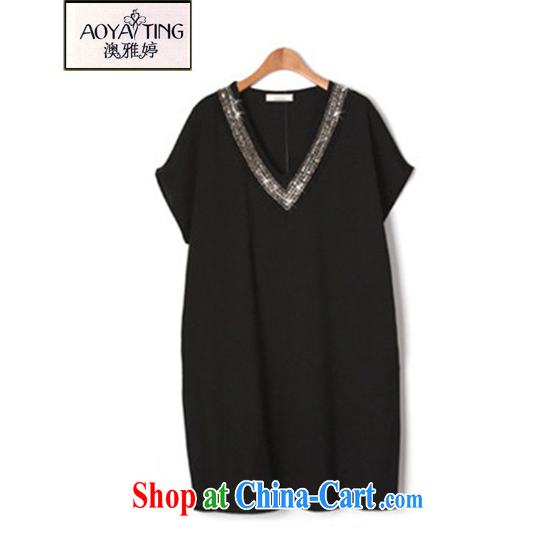 o Ya-ting 2015 New, and indeed increase, female fat MM summer V collar dresses video thin nail Pearl T-shirt female black 5 XL recommends that you 175 - 200 jack