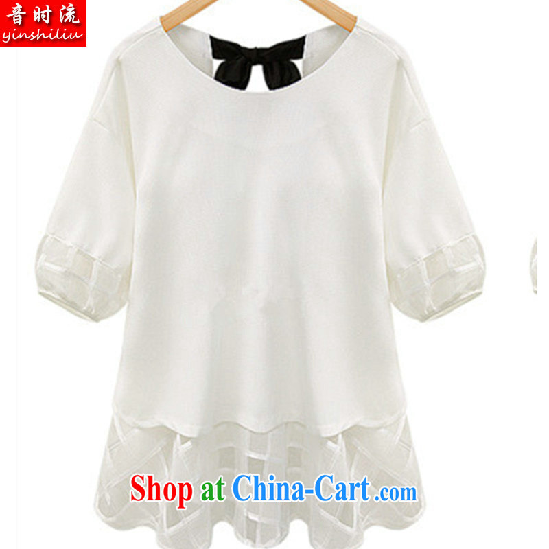 Audio Stream 2015 summer load in Europe and New Code mm thick lace snow woven bowtie short-sleeved dresses S 2598 _SJL white 4XL