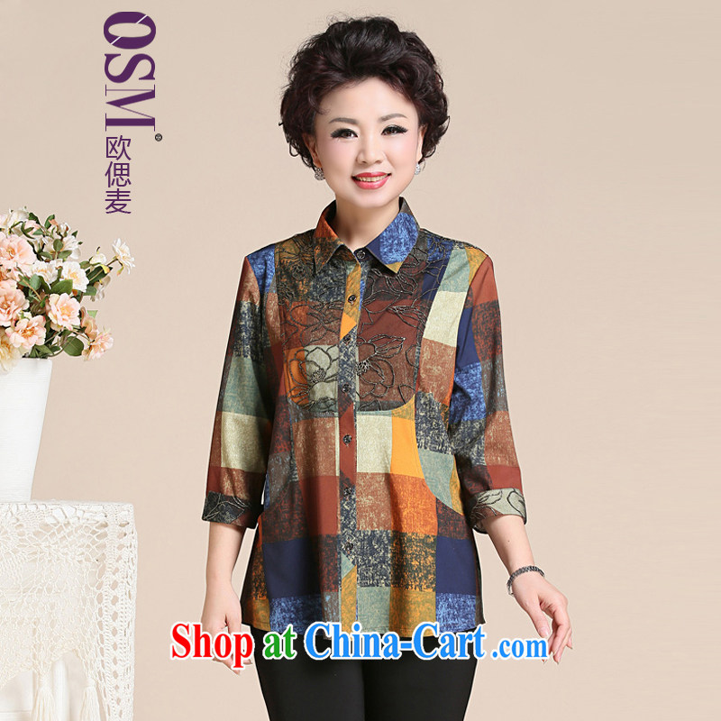 The SSU MAK Chun summer lace shirt long-sleeved checkered mother Load T-shirt in the elderly, female 169 lace Wong 4 XL