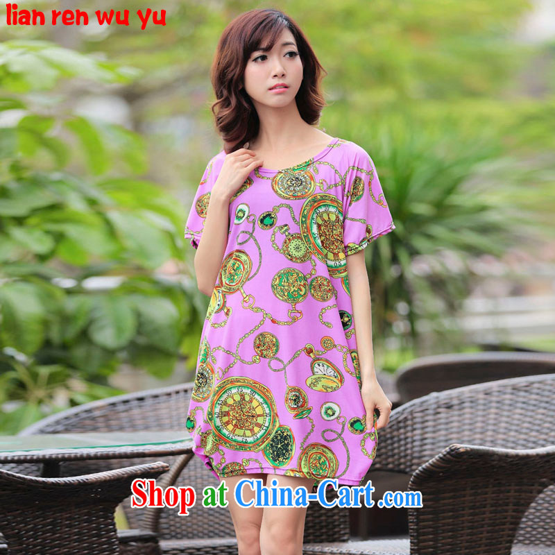 LRWY summer 2015 ultra loose the FAT and FAT MM larger stamp short-sleeved dress mask poverty video thin girls summer middle-aged fat people clothes picture color codes (for 90 jack - 160 catties MM)