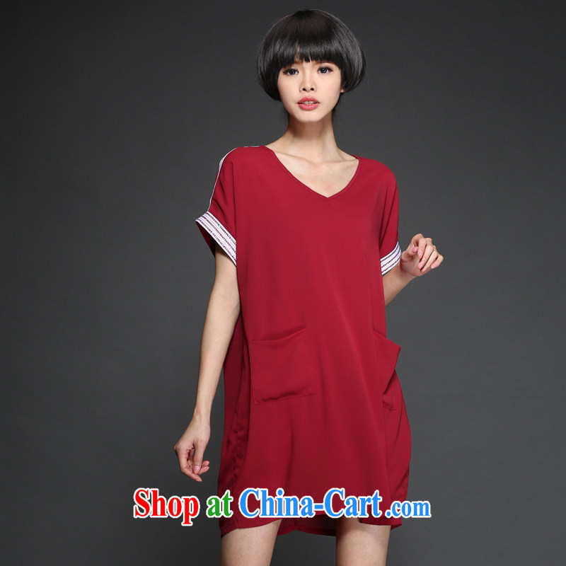 The Code women with thick MM summer 2015 summer new V collar hot drill short-sleeved simple snow-woven dresses M 1302 red XXXL 160 recommendations about Jack