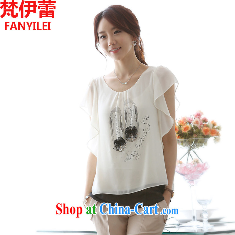 Vincent van Gogh, ballet 2015 summer new Korean version the code snow woven shirts 100 ground lace T-shirt loose thick mm T-shirt woman white XXXL