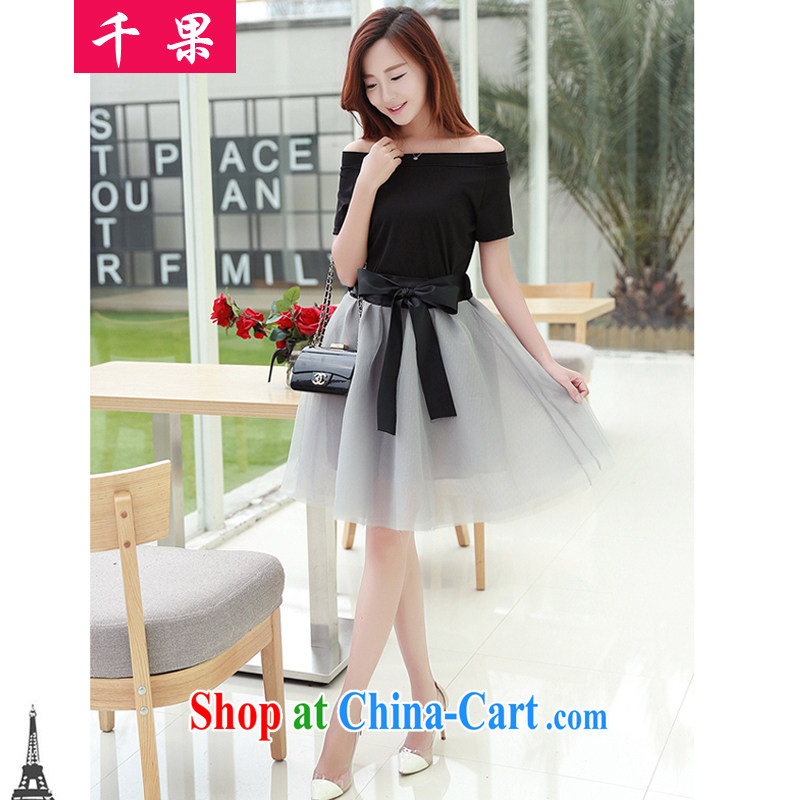 1000 fruit King, female thick mm Leisure package summer new Korean version cultivating short-sleeved T shirt + snow woven skirt bow tie skirt body graphics thin two-piece 348 black 5 XL 175 - 200 Jack left and right