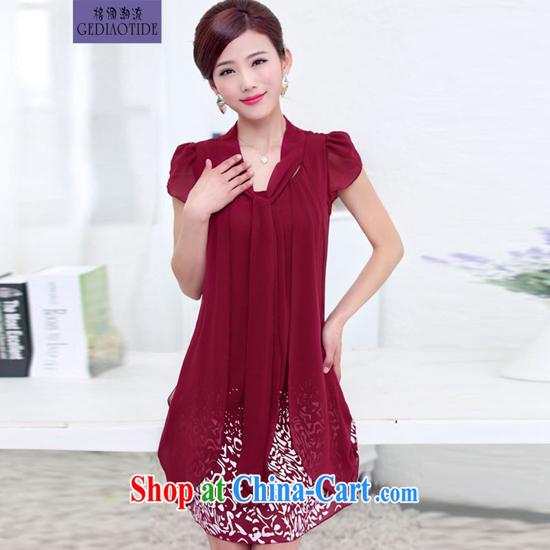 Style trends summer 2015 Korean fashion style graphics thin loose middle-aged larger female snow woven dresses multi-color optional female wine red 5 XL
