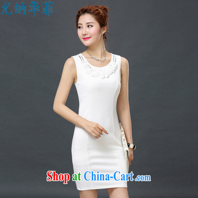 In particular, China , 2015 spring and summer new women video thin-waist cultivating solid sleeveless large code women dress vest 6917 white XXXXL