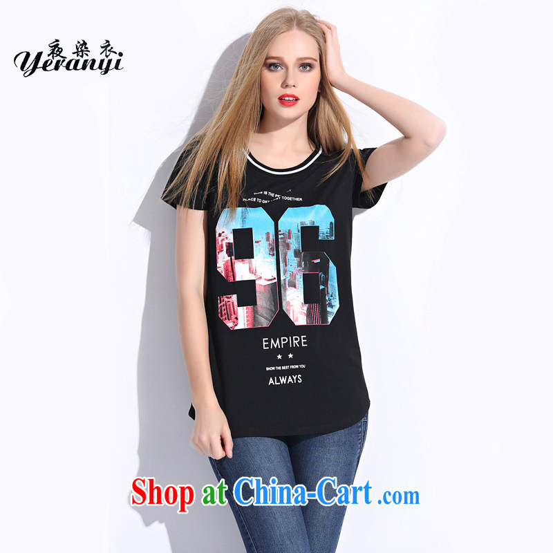 My dyeing clothing summer 2015 new Europe the Code women dyeing and urban chic short-sleeved round neck T-shirt black 4XL _155 - 170 _ jack