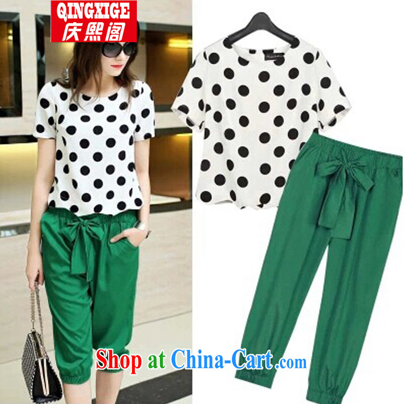 Kyung-hee-ko in Europe and the Code's 2015 summer thick MM new retro dot snow woven shirts, 7 pants two-part kit picture color _in stock_ the code 5 XL