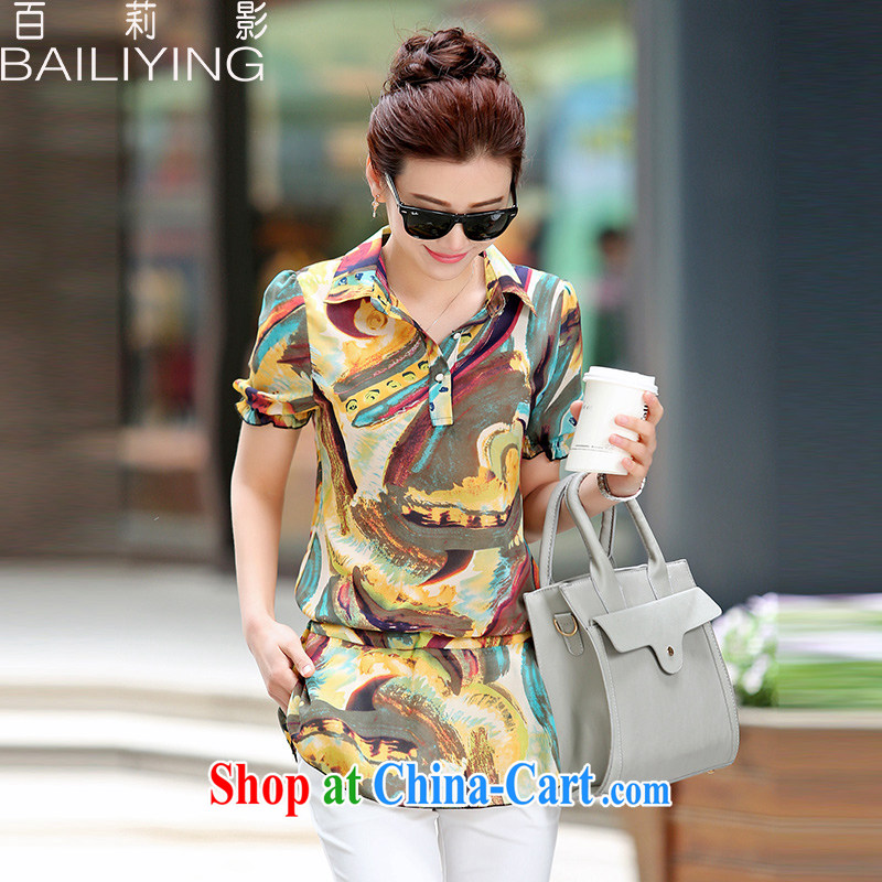 100 Julie shadow summer new 2015 new and accessible with a stylish floral short-sleeved round neck snow woven shirts T-shirt yellow 3 XL