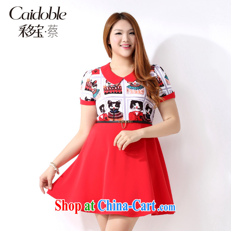 Picking a major, women 2015 spring and summer finery thick MM the fertilizer and stylish graphics thin doll short-sleeved dresses Q 1091 3XL