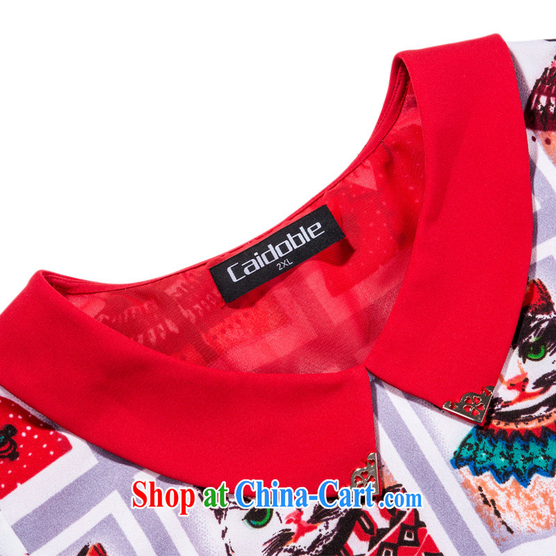 Picking a major, female 2015 spring and summer finery thick MM the fertilizer and stylish graphics thin doll short-sleeved dresses Q 1091 3XL, the multi-po, Miss CHOY So-yuk (CAIDOBLE), online shopping